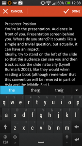office mobile for android Editing Speaker Notes