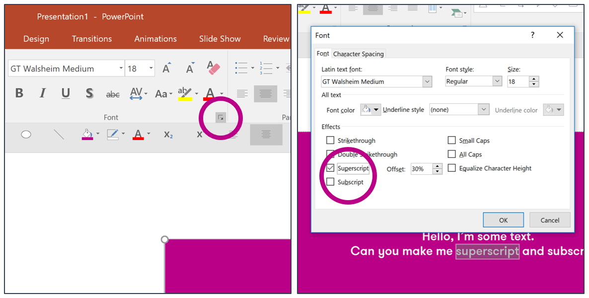 How to make text superscript and subscript in PowerPoint
