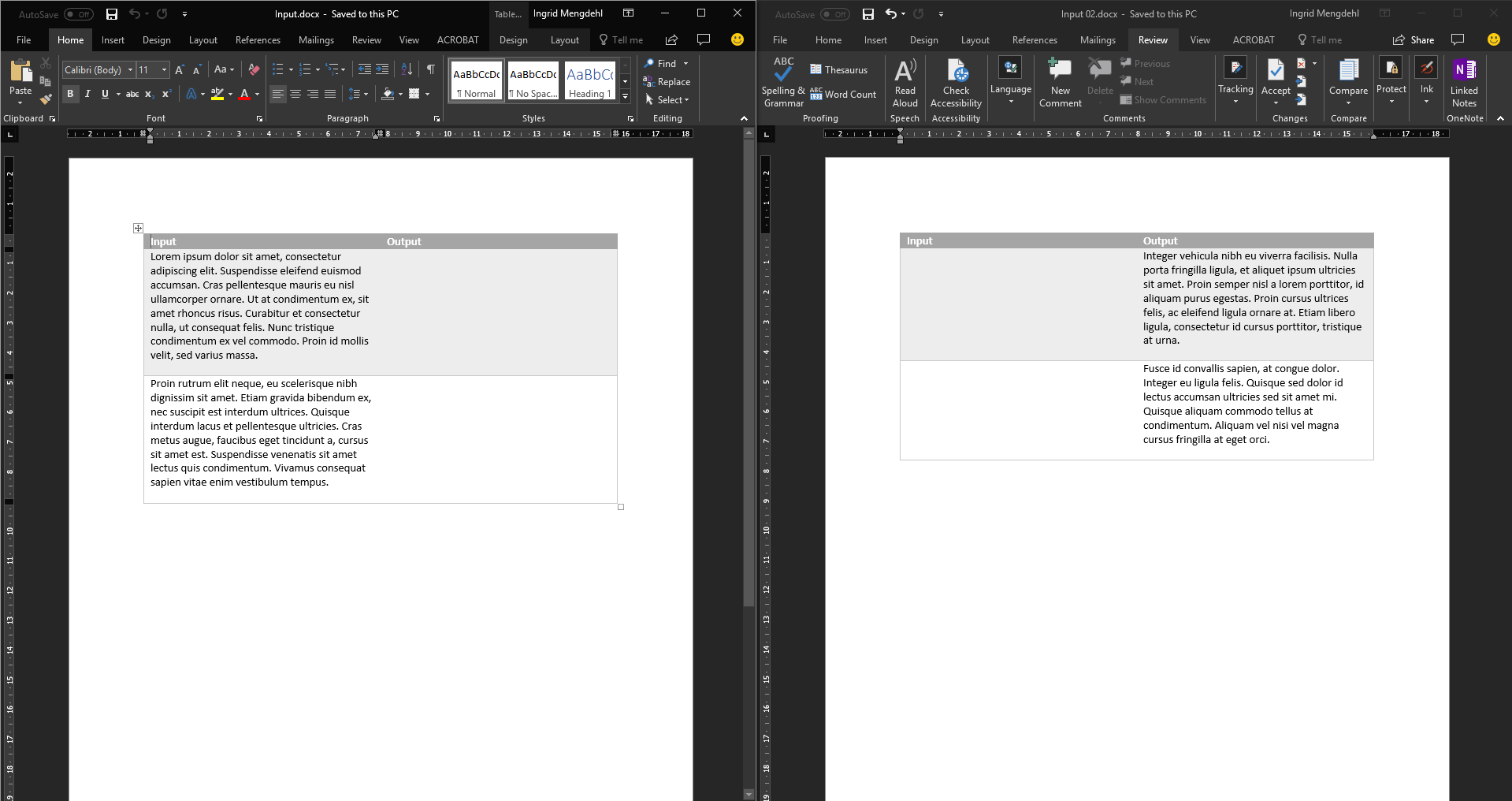 Merge two versions of a document