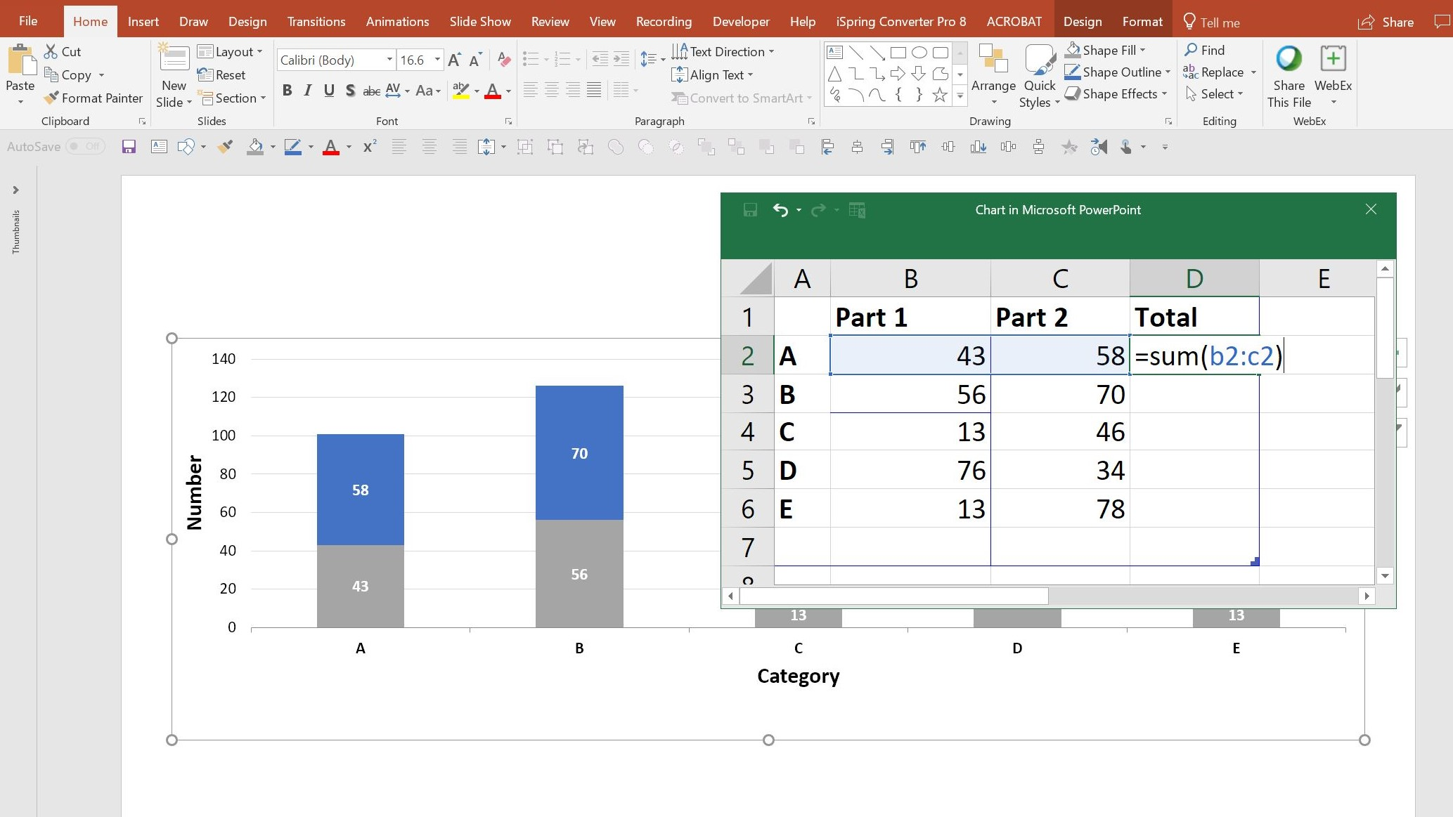 How to add live total labels to graphs and charts in Excel and