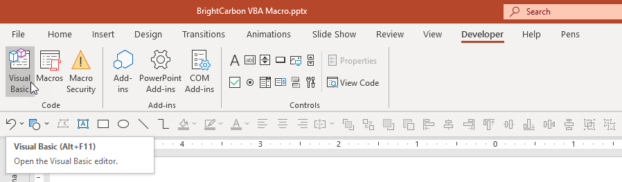 PowerPoint Developer Tab Visual Basic