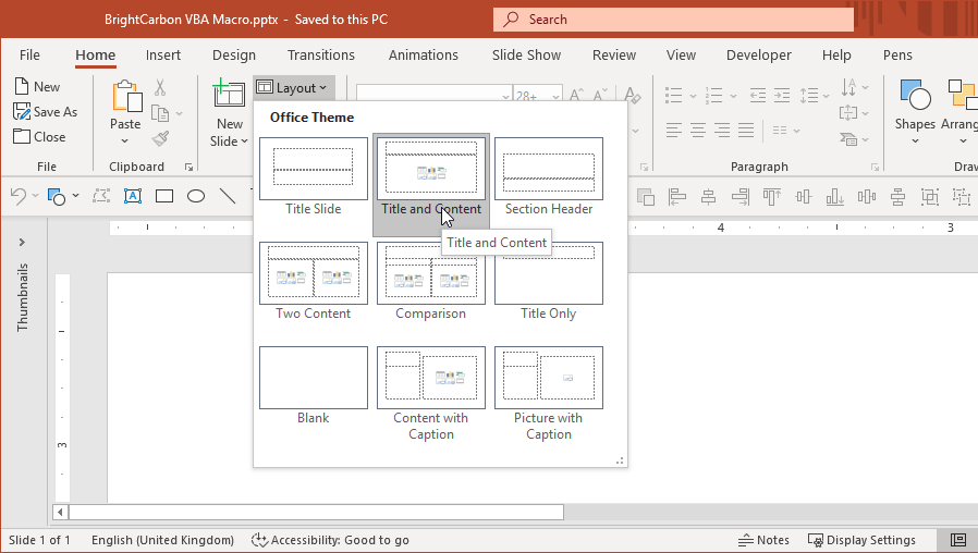 PowerPoint Home Layout selection
