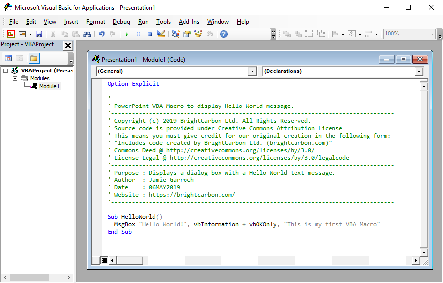 How to use VBA (Visual Basic for Applications) in PowerPoint