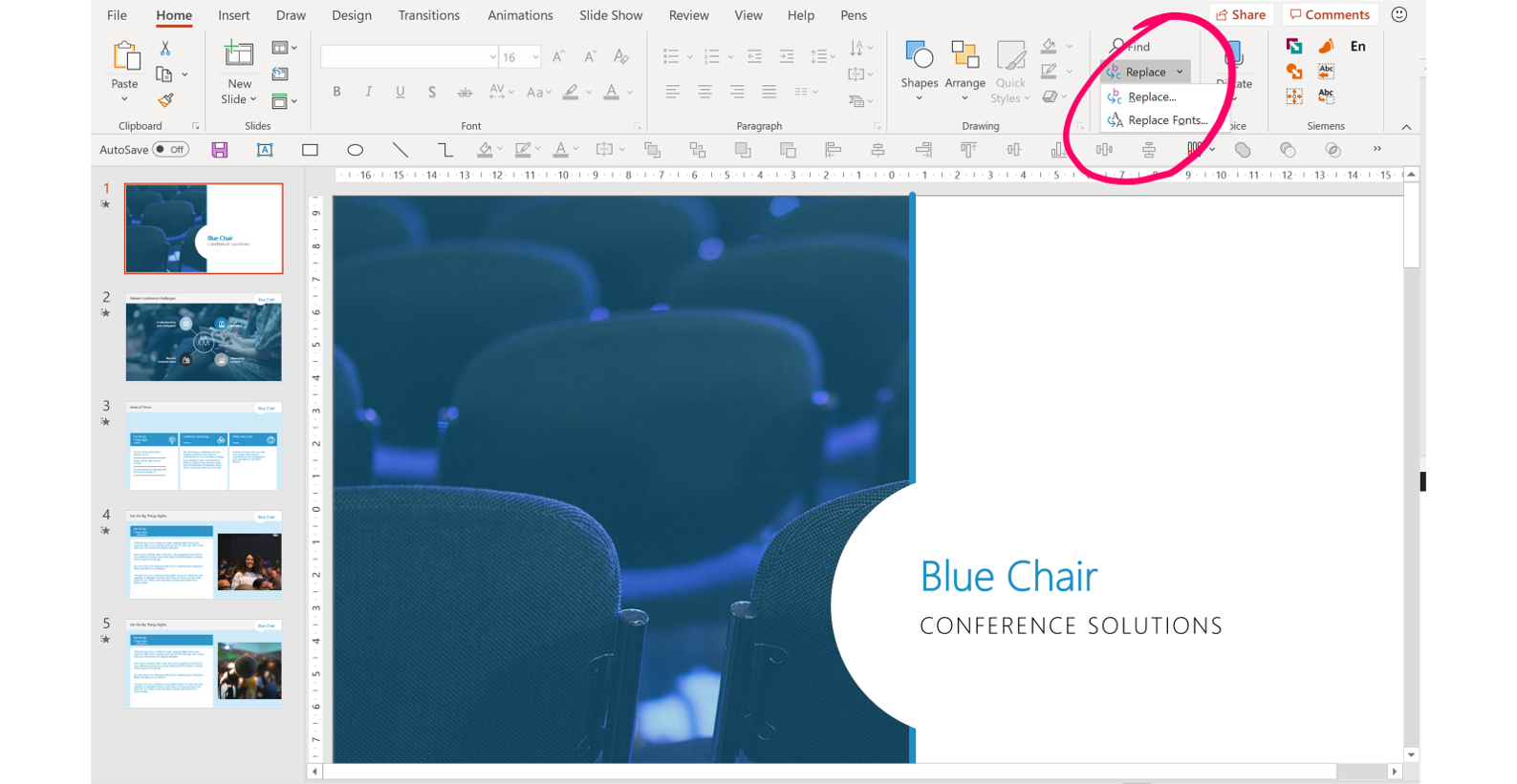 PowerPoint replace fonts location screenshot